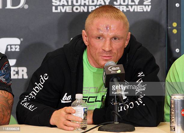 Dennis Siver speaks at the post-fight press conference after defeating Matt Wiman at UFC 132 inside the MGM Grand Garden Arena on July 2, 2011 in Las...