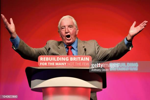 Dennis Skinner MP speaks during the Labour Party conference on September 26 2018 in Liverpool England The fourday annual Labour Party Conference...