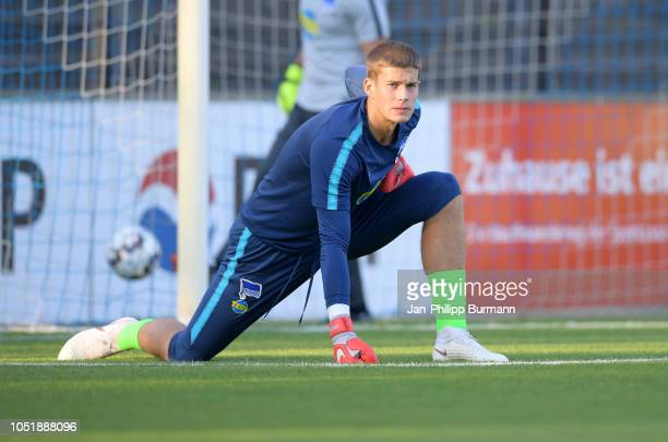Dennis Smarsch of Hertha BSC before the game between Hertha BSC and the SV Babelsberg 03 at the KarlLiebknechtStadion on October 11 2018 in Berlin...