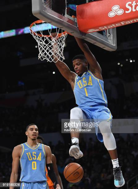 Dennis Smith Jr #1 of Team USA dunks during the 2018 Mountain Dew Kickstart Rising Stars Game at Staples Center on February 16 2018 in Los Angeles...