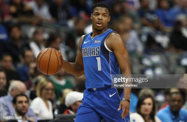 Dennis Smith Jr #1 of the Dallas Mavericks at American Airlines Center on November 02 2018 in Dallas Texas NOTE TO USER User expressly acknowledges...
