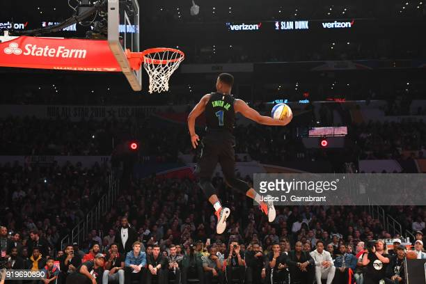 Dennis Smith Jr #1 of the Dallas Mavericks attempts to dunk the ball during the Verizon Slam Dunk Contest during State Farm AllStar Saturday Night as...