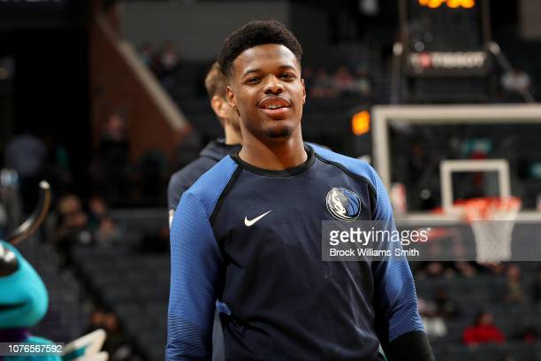 Dennis Smith Jr #1 of the Dallas Mavericks before the game against the Charlotte Hornets on January 2 2019 at Spectrum Center in Charlotte North...