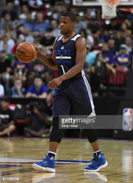 Dennis Smith Jr #1 of the Dallas Mavericks brings the ball up the court against the Chicago Bulls during the 2017 Summer League at the Thomas Mack...