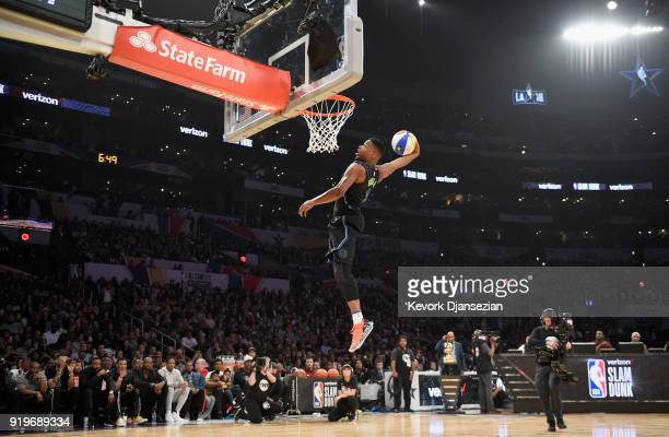 Dennis Smith Jr #1 of the Dallas Mavericks competes in the 2018 Verizon Slam Dunk Contest at Staples Center on February 17 2018 in Los Angeles...