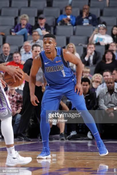 Dennis Smith Jr #1 of the Dallas Mavericks defends against the Sacramento Kings on March 27 2018 at Golden 1 Center in Sacramento California NOTE TO...