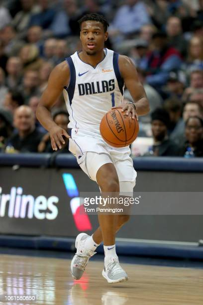 Dennis Smith Jr #1 of the Dallas Mavericks dribbles the ball against the Utah Jazz in the first half at American Airlines Center on November 14 2018...
