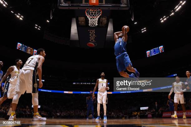 Dennis Smith Jr #1 of the Dallas Mavericks drives to the basket during the game against the Denver Nuggets on January 16 2018 at the Pepsi Center in...