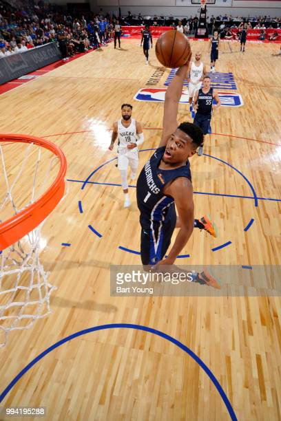 Dennis Smith Jr #1 of the Dallas Mavericks drives to the basket during the game against the Milwaukee Bucks on July 8 2018 at the Cox Pavilion in Las...