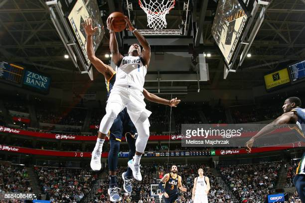 Dennis Smith Jr #1 of the Dallas Mavericks drives to the basket against the Utah Jazz on October 30 2017 at Vivint Smart Home Arena in Salt Lake City...