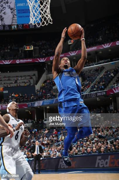 Dennis Smith Jr #1 of the Dallas Mavericks drives to the basket against the Memphis Grizzlies on November 22 2017 at FedExForum in Memphis Tennessee...