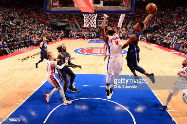 Dennis Smith Jr #1 of the Dallas Mavericks drives to the basket against the Detroit Pistons on April 6 2018 at Little Caesars Arena in Detroit...