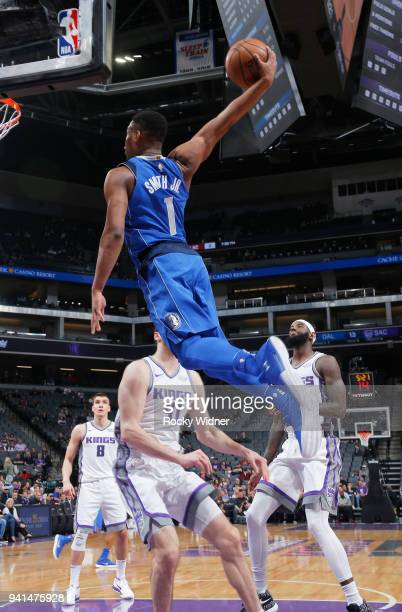 Dennis Smith Jr #1 of the Dallas Mavericks dunks against the Sacramento Kings on March 27 2018 at Golden 1 Center in Sacramento California NOTE TO...