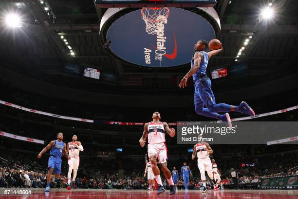 Dennis Smith Jr #1 of the Dallas Mavericks dunks against the Washington Wizards on November 7 2017 at Capital One Arena in Washington DC NOTE TO USER...