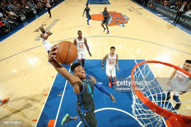 Dennis Smith Jr #1 of the Dallas Mavericks dunks the ball against the New York Knicks on January 30 2019 at Madison Square Garden in New York City...