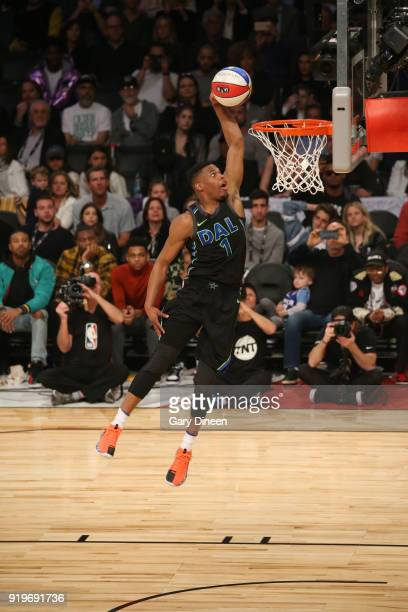 Dennis Smith Jr #1 of the Dallas Mavericks dunks the ball during the Verizon Slam Dunk Contest during State Farm AllStar Saturday Night as part of...