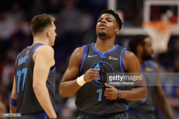 Dennis Smith Jr #1 of the Dallas Mavericks during the NBA game against the Phoenix Suns at Talking Stick Resort Arena on December 13 2018 in Phoenix...