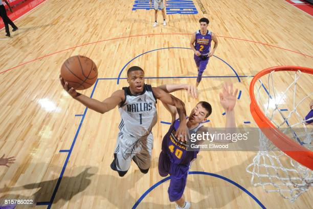 Dennis Smith Jr #1 of the Dallas Mavericks goes to the basket against the Los Angeles Lakers during the 2017 Summer League Semifinals on July 16 2017...