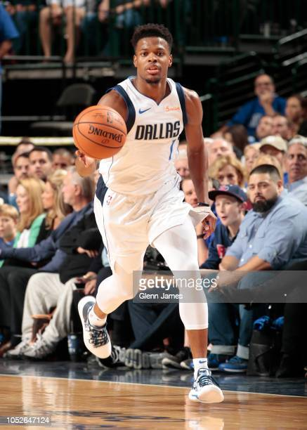 Dennis Smith Jr #1 of the Dallas Mavericks handles the ball against the Minnesota Timberwolves during a game on October 20 2018 at American Airlines...