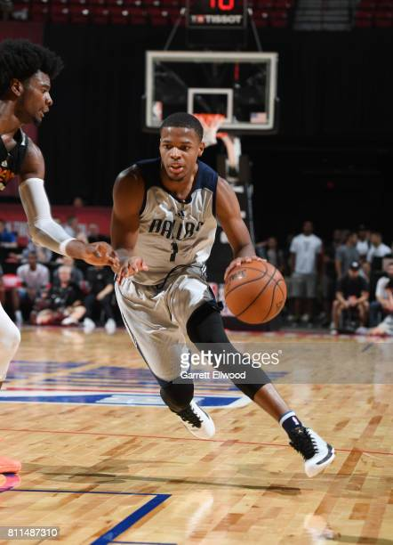 Dennis Smith Jr #1 of the Dallas Mavericks handles the ball against the Phoenix Suns during the 2017 Summer League on July 9 2017 at the Thomas Mack...
