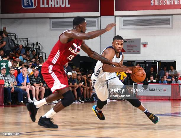 Dennis Smith Jr #1 of the Dallas Mavericks handles the ball against the Miami Heat during the 2017 Summer League on July 11 2017 at the Cox Pavilion...