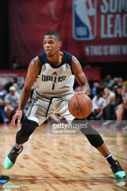 Dennis Smith Jr #1 of the Dallas Mavericks handles the ball against the Sacramento Kings on July 13 2017 at the Thomas Mack Center in Las Vegas...