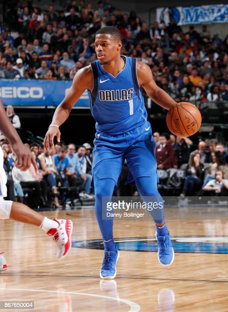 Dennis Smith Jr #1 of the Dallas Mavericks handles the ball against the Philadelphia 76ers on October 28 2017 at the American Airlines Center in...