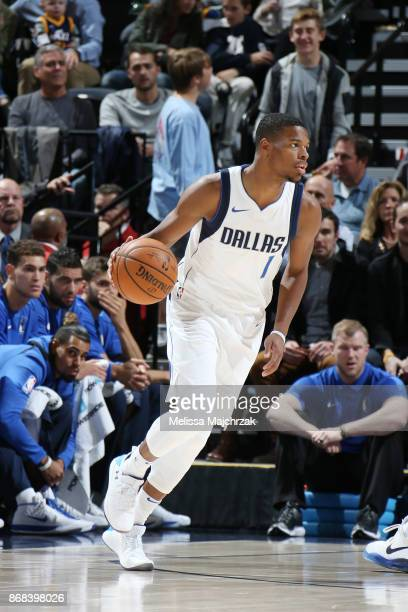Dennis Smith Jr #1 of the Dallas Mavericks handles the ball against the Utah Jazz on October 30 2017 at Vivint Smart Home Arena in Salt Lake City...