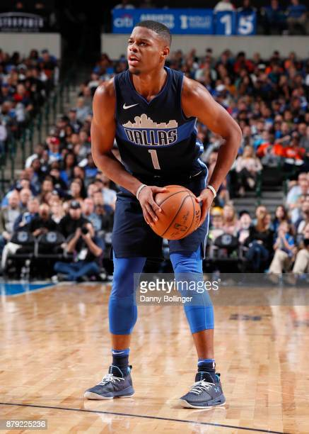 Dennis Smith Jr #1 of the Dallas Mavericks handles the ball against the Oklahoma City Thunder on November 25 2017 at the American Airlines Center in...