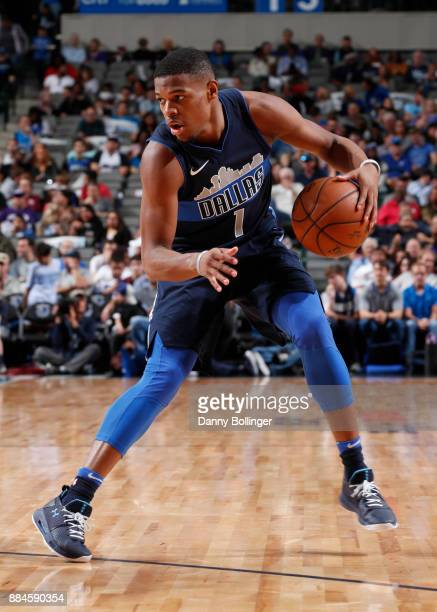 Dennis Smith Jr #1 of the Dallas Mavericks handles the ball against the LA Clippers on December 2 2017 at the American Airlines Center in Dallas...