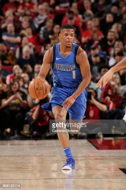 Dennis Smith Jr #1 of the Dallas Mavericks handles the ball against the Portland Trail Blazers on January 20 2018 at the Moda Center in Portland...