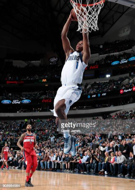 Dennis Smith Jr #1 of the Dallas Mavericks handles the ball against the Washington Wizards on January 22 2018 at the American Airlines Center in...