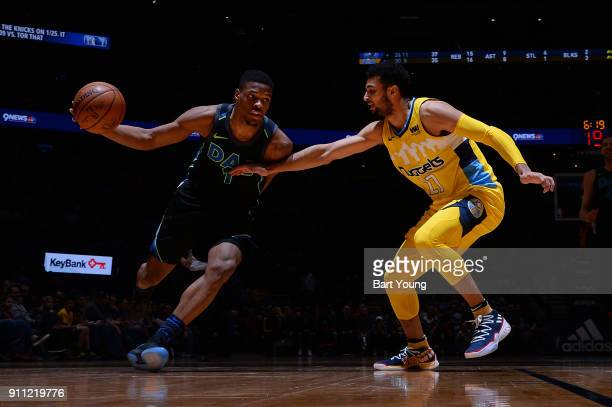 Dennis Smith Jr #1 of the Dallas Mavericks handles the ball against the Denver Nuggets on January 27 2018 at the Pepsi Center in Denver Colorado NOTE...