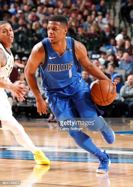 Dennis Smith Jr #1 of the Dallas Mavericks handles the ball against the Indiana Pacers on February 26 2018 at the American Airlines Center in Dallas...