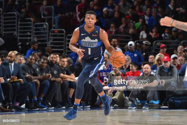 Dennis Smith Jr #1 of the Dallas Mavericks handles the ball against the Philadelphia 76ers on April 8 2018 at Wells Fargo Center in Philadelphia...