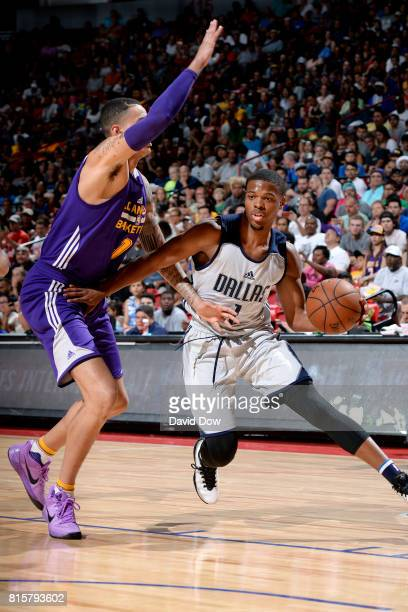 Dennis Smith Jr #1 of the Dallas Mavericks handles the ball during the game against the Los Angeles Lakers during the Semifinals of the 2017 Las...
