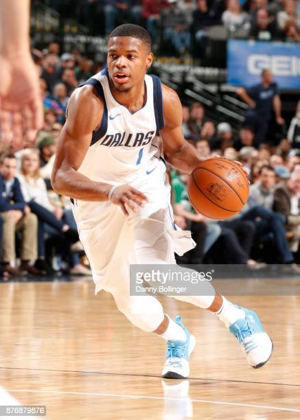 Dennis Smith Jr #1 of the Dallas Mavericks handles the ball during the game against the Boston Celtics on November 20 2017 at the American Airlines...