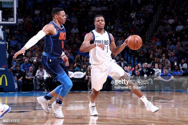 Dennis Smith Jr #1 of the Dallas Mavericks handles the ball during the game against the Oklahoma City Thunder on December 31 2017 at Chesapeake...