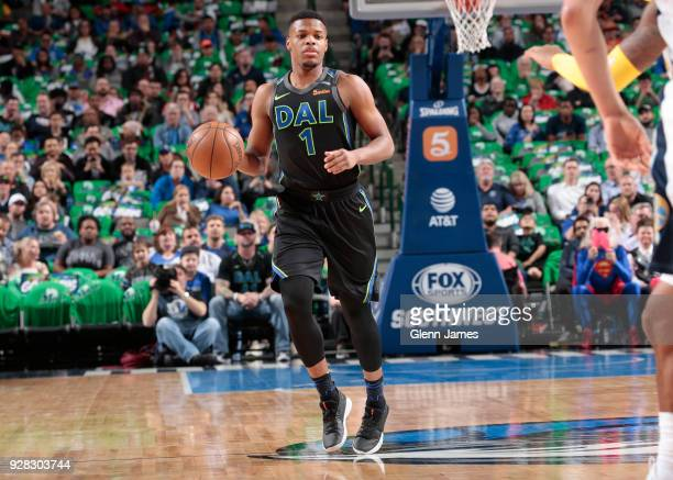 Dennis Smith Jr #1 of the Dallas Mavericks handles the ball during the game against the Denver Nuggets on March 6 2018 at the American Airlines...