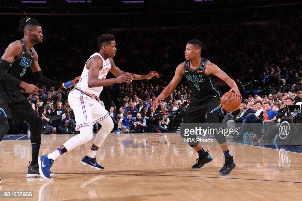 Dennis Smith Jr #1 of the Dallas Mavericks handles the ball during the game against the New York Knicks on March 13 2018 at Madison Square Garden in...