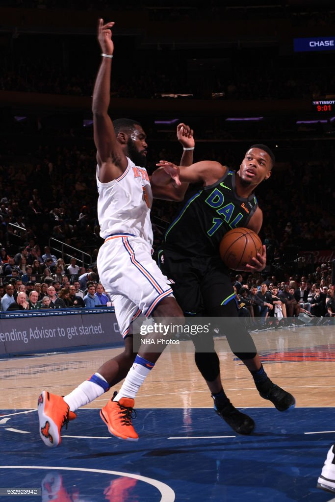 Dennis Smith Jr. #1 of the Dallas Mavericks handles the ball during the game against the New York Knicks on March 13, 2018 at Madison Square Garden in New York City, New York.
