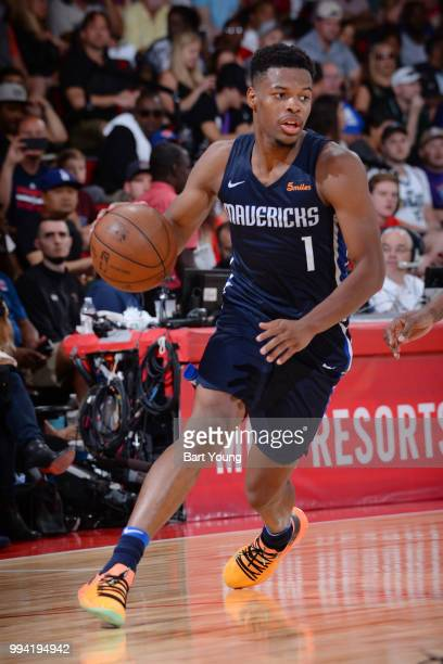Dennis Smith Jr #1 of the Dallas Mavericks handles the ball during the game against the Milwaukee Bucks on July 8 2018 at the Cox Pavilion in Las...