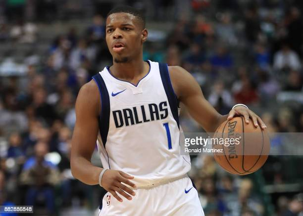 Dennis Smith Jr #1 of the Dallas Mavericks in the first half at American Airlines Center on November 29 2017 in Dallas Texas NOTE TO USER User...