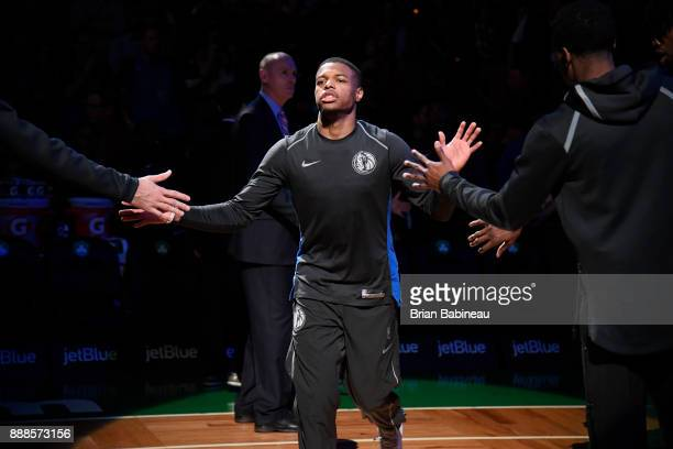 Dennis Smith Jr #1 of the Dallas Mavericks is introduced before the game against the Boston Celtics on December 6 2017 at the TD Garden in Boston...