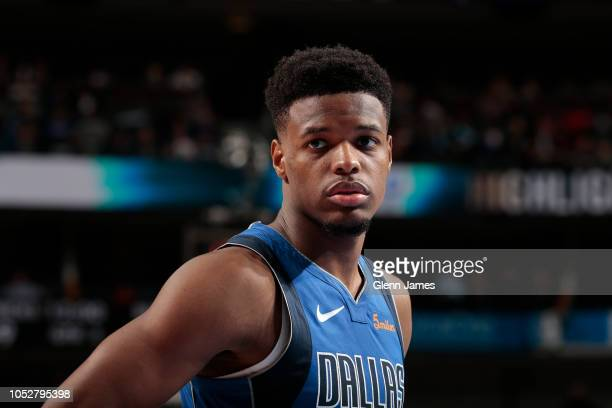 Dennis Smith Jr #1 of the Dallas Mavericks looks on during a game against the Chicago Bulls on October 22 2018 at American Airlines Center in Dallas...