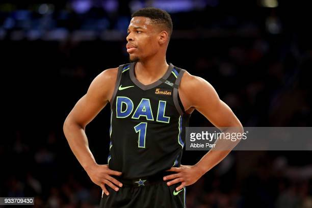 Dennis Smith Jr #1 of the Dallas Mavericks looks on in the first quarter against the New York Knicks during their game at Madison Square Garden on...