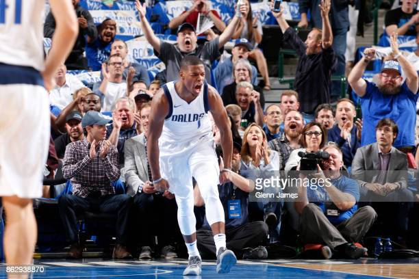 Dennis Smith Jr #1 of the Dallas Mavericks reacts during the 201718 regular season game against the Atlanta Hawks on October 18 2017 at the American...