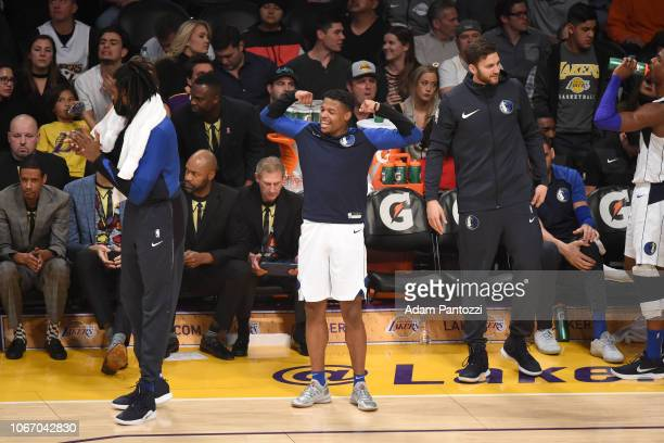 Dennis Smith Jr #1 of the Dallas Mavericks reacts to a play during the game against the Los Angeles Lakers on November 30 2018 at STAPLES Center in...