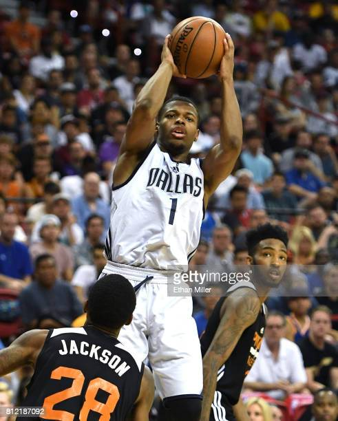 Dennis Smith Jr #1 of the Dallas Mavericks shoots over Joe Jackson of the Phoenix Suns during the 2017 Summer League at the Thomas Mack Center on...
