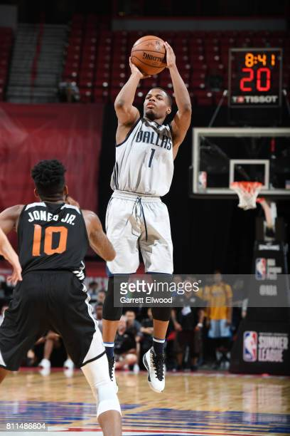 Dennis Smith Jr #1 of the Dallas Mavericks shoots the ball against the Phoenix Suns during the 2017 Summer League on July 9 2017 at the Thomas Mack...